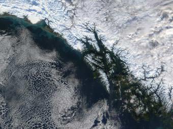 NASA satellite imagery shows Southeast Alaska in true color on Nov. 24, 2001.