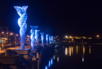 """LEDs illuminate the new public art installation """"Aquileans"""" on Juneau's downtown waterfront in September 2017."""