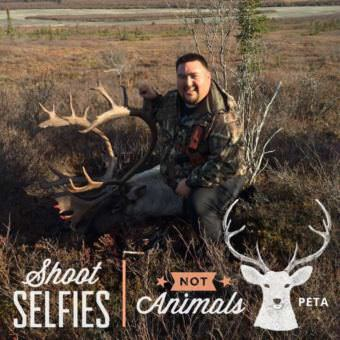 David Nicolai posing with a caribou he took on a successful hunt in 2016, in PETA's social media frame. (Photo courtesy of David Nicolai)