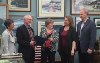 Nancy Lehnhart, Superintendent Mark Miller, Assemblywoman Mary Becker, Sealaska Heritage Institute Art Director Kari Groven and School Board President Brian Holst meet to read a proclamation declaring Sept. 10- 16 National Arts in Education Week. (Photo by Adelyn Baxter/KTOO)