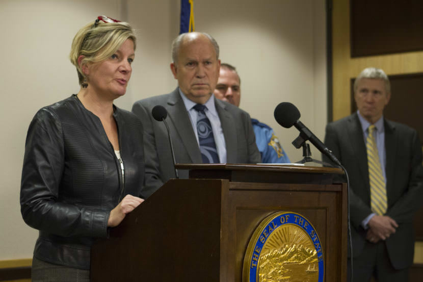Alaska Attorney General Jahna Lindemuth speaks to reporters at a press availability on September 15, 2017 (Photo by Daniel Hernandez, Alaska Public Media - Anchorage)