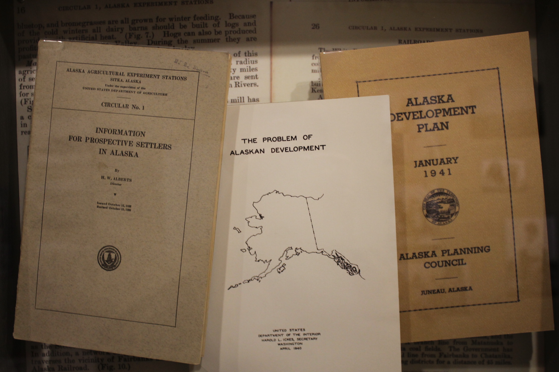 Pamphlets outlining the plan to bring European Jewish refugees to Alaska to develop industry.(Photo by Henry Leasia/Alaska Public Media)