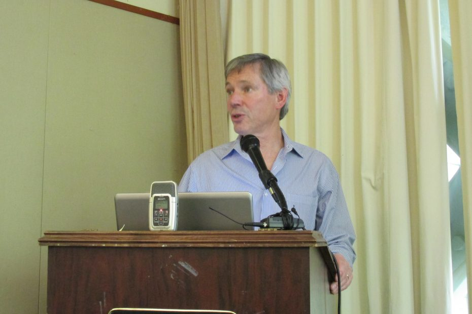 John Binkley of Cruise Line International Association Alaska speaks at a luncheon with Ketchikan Visitors Bureau and Chamber of Commerce. (Photo by KRBD)