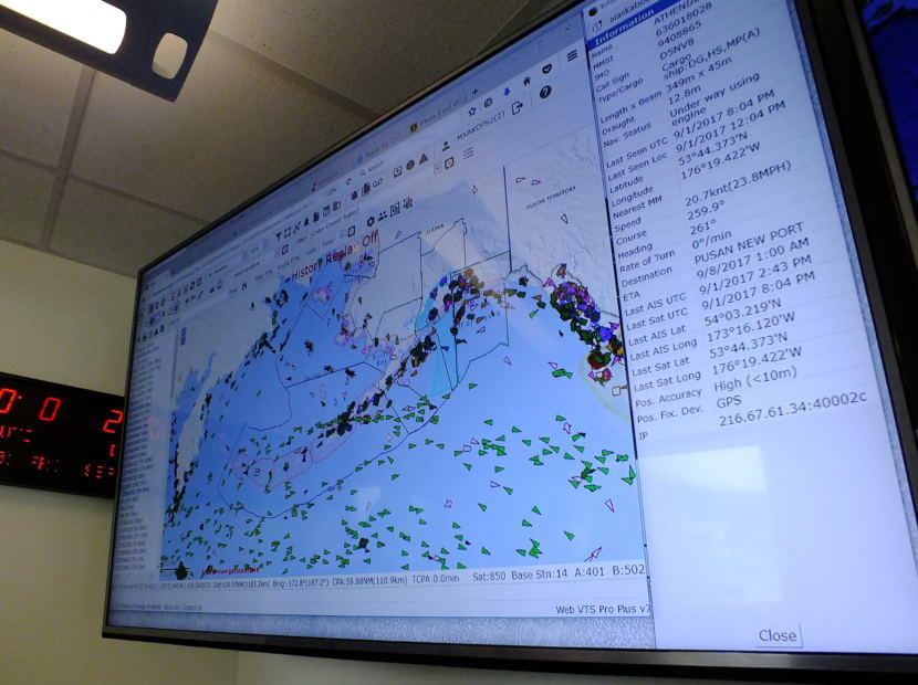 Every different colored triangle represents a vessel equipped with Automatic Identification System or AIS that can be tracked by Marine Exchange of Alaska.
