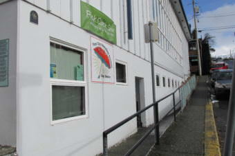 The entrance to the First City Homeless Services Day Shelter is seen this spring. The organization is working with the Salvation Army to open a separate night shelter. (File photo by KRBD)