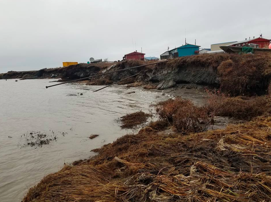 An image of Newtok's shoreline. In addition to increased erosion, the Yukon-Kuskokwim Delta may experience warmer winters and increased rainfall as the planet warms. (Photo courtesy Lemay Engineering and Consulting)