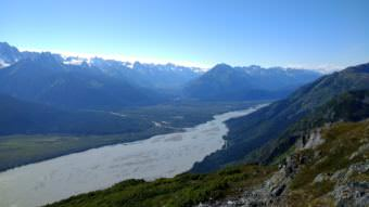The Chilkat River as seen from Mount Ripinsky in summer of 2017. (Photo by Emily Files/KHNS)