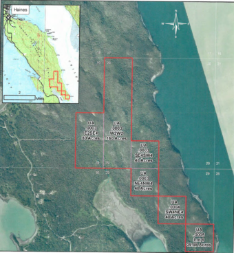 The University of Alaska's timber sale area on the Chilkat Peninsula. (Map courtesy University of Alaska)