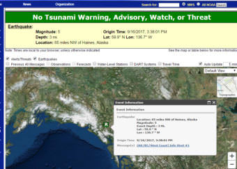 A screen capture from the National Weather Service website shows where a 5.0-magnitude earthquake struck on Saturday, Sept. 16, 2017. The National Tsunami Warning Center in Palmer said it wouldn't trigger a tsunami.