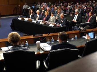 Julie Mix McPeak, Mike Kreidler, Lori K. Wing-Heier, Teresa Miller and John Doak testify before the U.S. Senate Committee on Health, Education, Labor & Pensions on Wednesday, September 7, 2017, in Washington, D.C. Alaska Division of Insurance Wing-Heier advised senators how to improve the Affordable Care Act. (Photo by Liz Ruskin/Alaska Public Media)