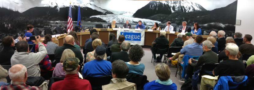 Seven candidates for Juneau Assembly spar at a Juneau League of Women Voters candidate forum at City Hall on Sept. 14, 2017.