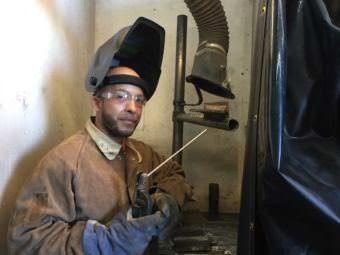 Rey Soto-Lopez practices his welding techniques at the Ironworkers Union. (Photo by Anne Hillman/Alaska Public Media)