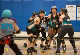 Victoria Moore, aka Deckem, number 90 skates with the Petersburg Ragnarök Rollers in the Petersburg High School gym in May 2017.
