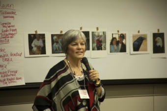 Linda Schrack teaches a workshop on how to speak several Haida words and phrases during a language workshop Monday, October 16, 2017, at Elders and Youth Conference in Anchorage.