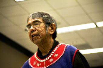 Tlingit storyteller Bob Sam has traveled all over the world to tell the stories of his people. He hosts a workshop Tuesday, October 17, 2017, at the Elders and Youth Conference in Anchorage. (Photo by Tripp J Crouse)