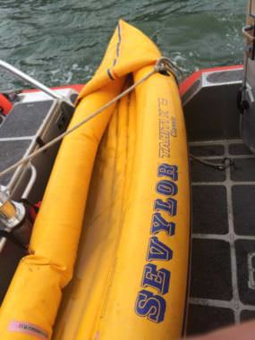 The Coast Guard spotted this inflatable floating unattended in Gastineau Channel on Oct. 4, 2017. It prompted concern that someone may be missing, though the owner was later identified safe and sound.