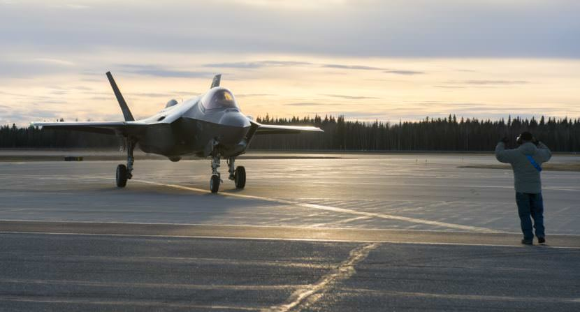 A U.S. Air Force F-35A Lightning II fighter aircraft lands on the flight line Oct. 12, 2017, at Eielson Air Force Base, Alaska. The F-35 is here to conduct cold weather testing to ensure the fifth generation multi-role fighter aircraft performs optimally in Alaska's harsh weather conditions.