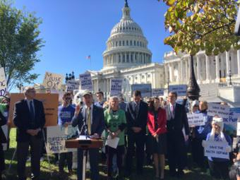 Environmental groups held an anti-drilling rally Oct. 17, 2017, at the U.S. Capitol. (Photo by Liz Ruskin/Alaska Public Media)