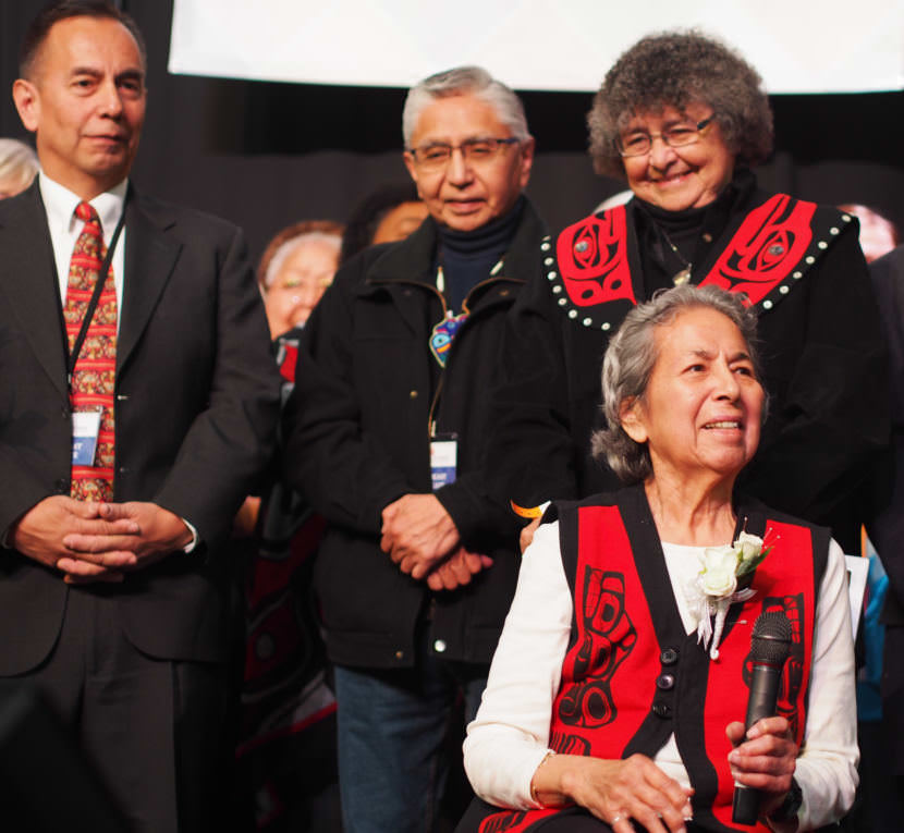 Ethel Lund receives the Della Keats Healing Hands Award at the Alaska Federation of Natives Convention in Anchorage on Friday, Oct. 20, 2017.