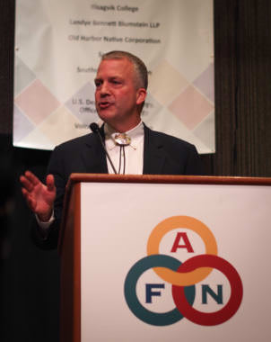 U.S. Sen. Dan Sullivan addresses the 2017 Alaska Federation of Natives convention on Saturday, Oct. 21, 2017.