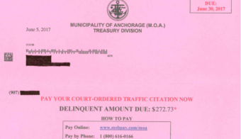 Unpaid fine notice (Municipality of Anchorage)