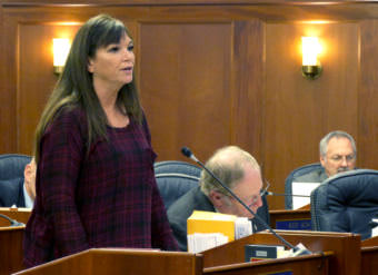 Rep. Charisse Millet, R-Anchorage, speaks about crime legislation, Oct. 23, 2017. She said the Legislature should take time to consider what changes should be made. (Photo by Skip Gray/360 North)