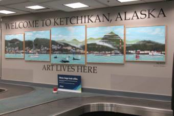 """My World"" by Ricardo Burquez at the Ketchikan International Airport. (Photo by Maria Dudzak/KRBD)"