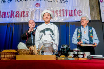 Whaler Chris Apassingok, a 17-year-old whaler from Gambell, is the youth keynote speaker at the Elders and Youth Conference on Monday, Oct. 17, 2017. Gov. Bill Walker, left, and Lt. Gov. Byron Mallott are also pictured.