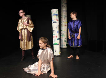 """Nina Rautiainen, who plays Egeus, Layla Webster, who plays Hermia, and Matisse Geselle, who plays Lysander, perform in the Perseverance Theatre Young Company's performance of """"A Midsummer Night's Dream"""" Sunday, Oct. 8, 2017. (Photo by Adelyn Baxter/KTOO)"""