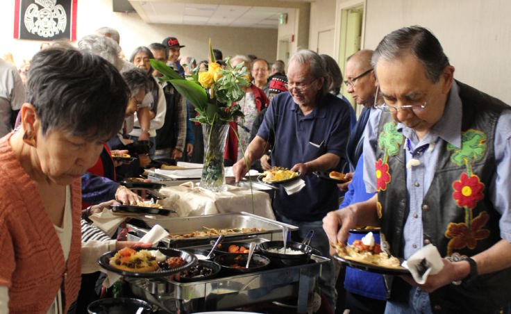 Refreshments at the Indigenous Peoples Day celebration Oct. 9, 2017, at Elizabeth Peratrovich Hall included frybread and akutaq. (Photo by Adelyn Baxter/KTOO)