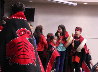 Members of the All Nations Children Dancers perform at the Indigenous Peoples Day celebration at Elizabeth Peratrovich Hall on Oct. 9, 2017. (Photo by Adelyn Baxter/KTOO)