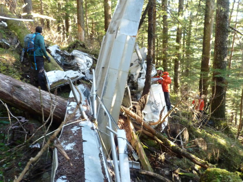 The site of the wreckage near Young Lake on Admiralty Island. Th eplane was reported overdue in 2008. Brian Andrews and Brandon Andrews were on board when the plane went missing. (Photo courtesy Alaska State Troopers)