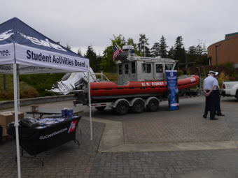 Coast Guard members recruit on the University of Alaska Southeast campus in Juneau on Oct. 2, 2017.