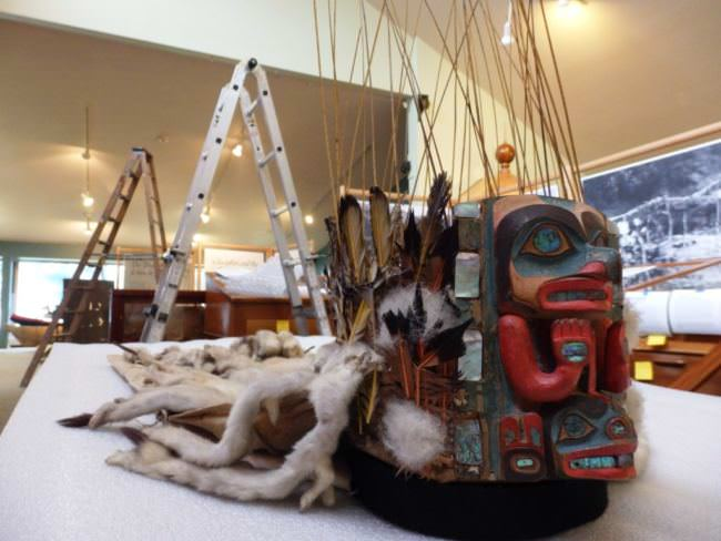 This headdress was carved by the artist Kadjisdu.áxch, who is known for carving the intricate Whale House Collection. It is on display in this exhibit as an example of the art that is part of the Tlingit culture. (Photo by Emily Files/KHNS)