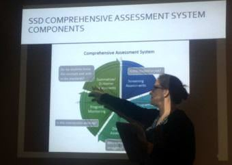 """Sitka co-assistant superintendent Sarah Ferrency explains the methodology behind district testing. Rationalizing the dip in scores following the adoption of new standards in 2012 she said, """"Let's be realistic. Kids on average don't change a lot year to year. The kids' learning has stayed roughly the same, but the way the test measured it has changed."""" (Photo by Robert Woolsey/KCAW)"""