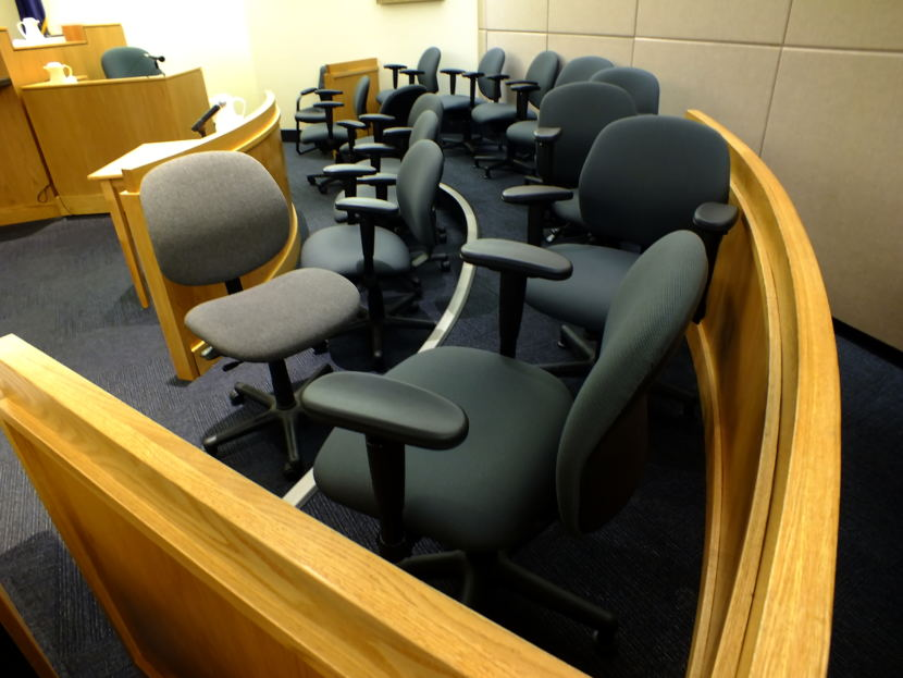View of the jury box during a recent trial in Juneau Superior Court. (Photo by Matt Miller/KTOO)