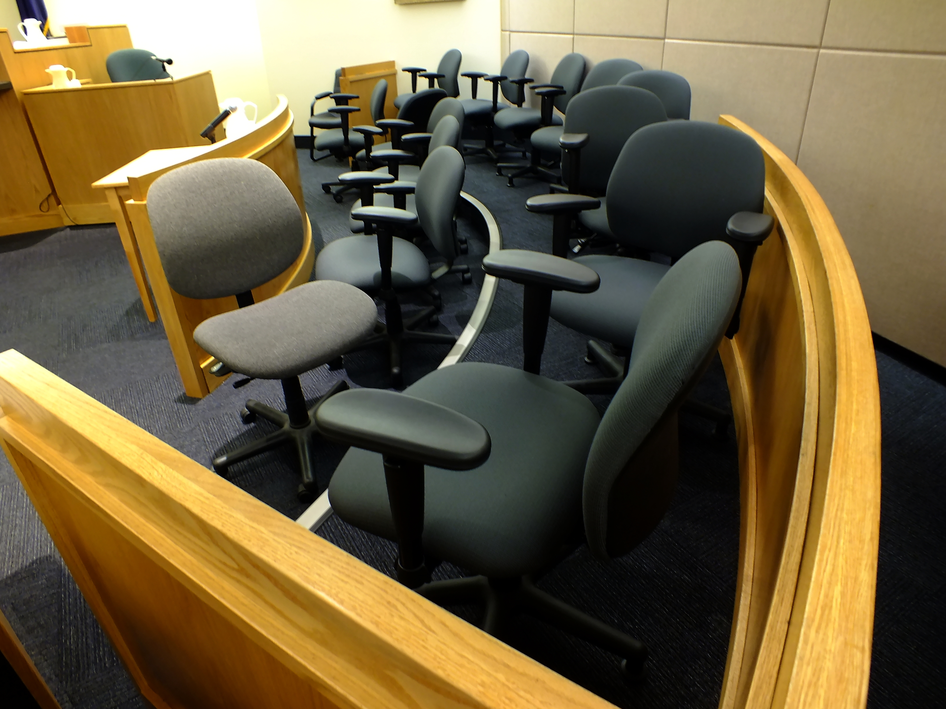 View of the jury box on Oct. 5, 2017 in the Christopher Strawn trial. (Photo by Matt Miller/KTOO)