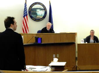 Christopher Strawn (far left), Superior Court Judge Philip Pallenberg (center), and witness Tiffany Johnson (right) during the homicide trial on Oct. 10, 2017.