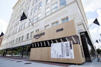 Cities across the country are trying to land Amazon's second headquarters. In Birmingham, Alabama, giant Amazon boxes were constructed and placed around the city.