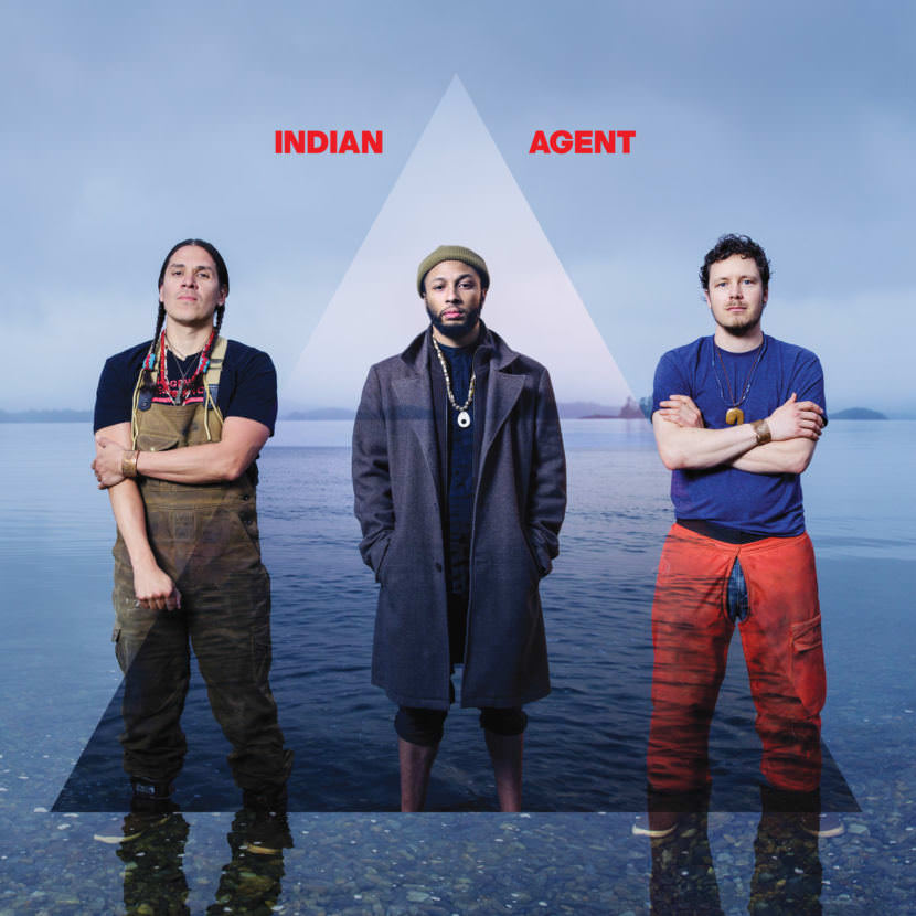 """Press photo for the band Indian Agent, featuring Nicholas Galanin, OC Notes, and Zach Wass for debut album """"Meditations in the Key of Red"""" out Oct. 13, 2017. (Courtesy of the artist)"""
