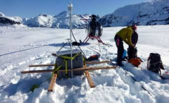 Glaciologist Christian Kienholz and colleagues used equipment to collect data on LeConte Glacier seven times over the last two years. (Photo courtesy of Christian Kienholz, University of Alaska Southeast)