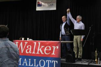 Gov. Bill Walker and Lt. Gov. Byron Mallott greet supporters gathered for the campaign kickoff event Oct. 22, 2017 at Elizabeth Peratrovich Hall in Juneau. (Photo by Adelyn Baxter/KTOO)