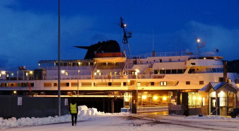 The ferry Taku waits to load passengers in Sitka Jan. 22, 2012, while it was still sailing. It's been sold to a company based in Dubai after a Portland, Oregon, bidder withdrew its offer. (Photo by Ed Schoenfeld/CoastAlaska News)