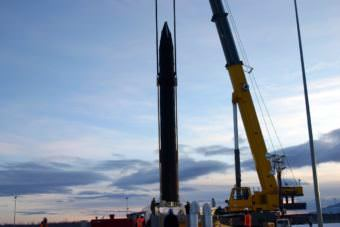 One of 40 ground-base interceptor missiles at Greely's missile-defense base is lowered into its silo. (Photo courtesy Missile Defense Agency)