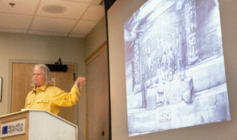 Independent historian John Cloud gave a lecture Wednesday, Nov. 15, 2017, on the significant contributions Alaska Natives made to pre-statehood cartography at the Living History Room of the Walter Soboleff Building. (Photo by Tripp J Crouse/KTOO)