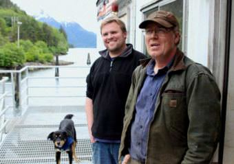 Pat Glaab, left, and Ben Blakey in Sitka, where Northline Seafoods has been developing its freezing barge for use in Bristol Bay in 2018. (Photo by Rob Woolsey/KCAW)