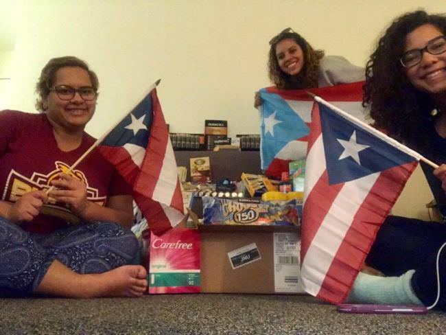 UAS National Student Exchange students Eva Collazo-Montanez, Nikyshaliz Velasquez and Gabriela Hernandez-Ramirez pose with the supplies they gathered to send home to Puerto Rico. (Photo courtesy of Eva Collazo-Montanez)