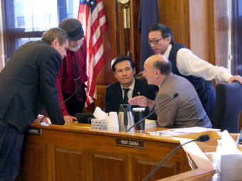 House majority members huddle during Finance Committee discussions about amendments to Senate Bill 54. If passed, the bill would amend Senate Bill 91, a major but controversial reworking of Alaska criminal justice laws passed last year. Pictured right to left: Reps. Chris Tuck, D-Anchorage; Co-Chair Paul Seaton, R- Homer; Co-Chair Neal Foster, D-Nome; Les Gara, D- Anchorage; and Scott Kawasaki, D- Fairbanks.