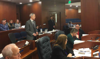 Anchorage Democratic Rep. Matt Claman speaks in favor of Senate Bill 54. The measures revises last year's controversial criminal justice law. (Photo by Andrew Kitchenman/KTOO)