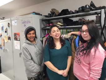 Nichelle, left, Serena and Ivory are staff with the Alaska Youth Advocates POWER Teen Center. (Photo by Anne Hillman/Alaska Public Media)
